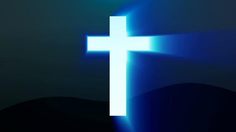 Light cross of Christ, ray beams background Footage