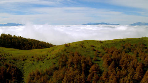 Aerial - Sea of clouds with autumn plateau - zoom out Live Action