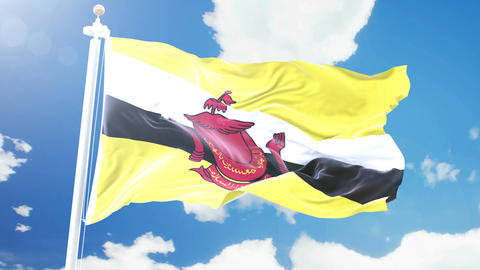 Realistic flag of Brunei waving against time-lapse clouds background. Seamless Animation