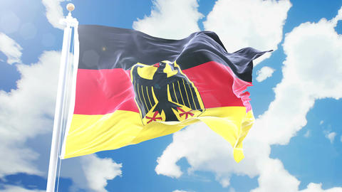Realistic flag of Germany waving against time-lapse clouds background. Seamless Animation