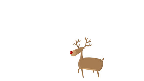 Cartoon Fun Vector Deer walking with Alpha Matte Transparent background 4K CG動画素材