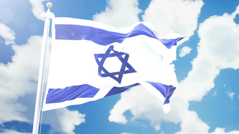 Realistic flag of Israel waving against time-lapse clouds background. Seamless Animation