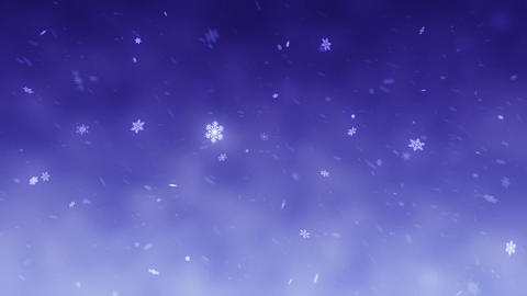 Snow falls and decorative snowflakes. Winter, Christmas, New Year. Blue-violet Animation