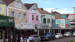 Bahamas Nassau Bay Street houses of the jewelers in Caribbean colors Footage