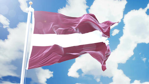 Realistic flag of Latvia waving against time-lapse clouds background. Seamless Animation