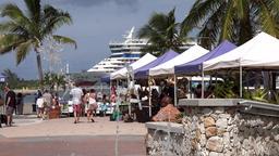 Bahamas Nassau the Woodes Rodgers Walk along waterfront promenade Footage