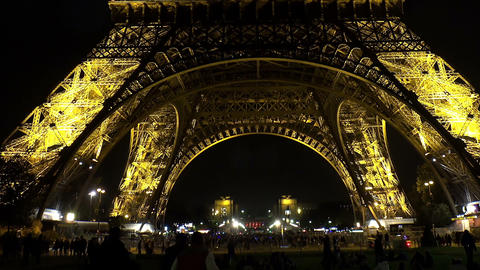 The Eiffel Tower in Paris. Night. France Footage