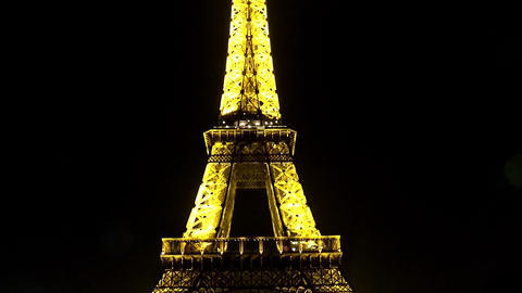 The Eiffel Tower in Paris. Night. France Live Action