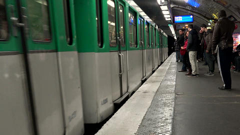 Metro In Paris. The Train In The Subway stock footage