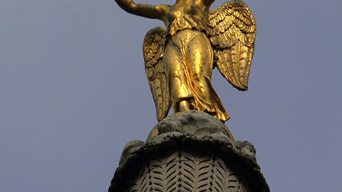 Colonne de Juillet on the place de la Bastille in Paris. Golden statue. France Footage