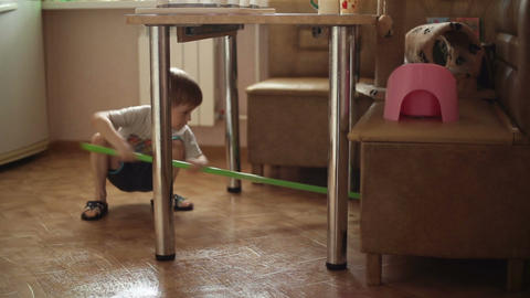 The boy helps parents to do housework Footage
