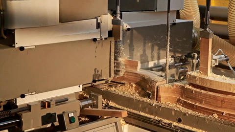 Modern woodworking machine with CNC at the woodworking and furniture plant Live Action