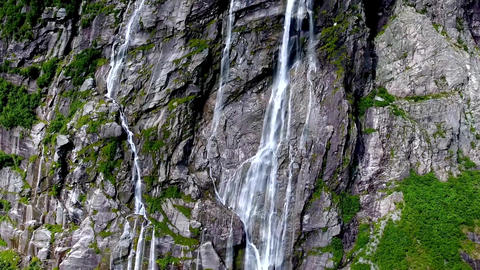 View of the magnificent waterfall of Vinnufossen Footage