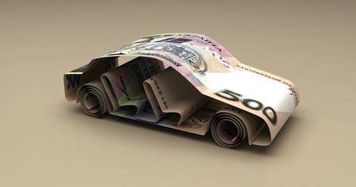 Car Finance with Ukrainian Hryvnia Animation