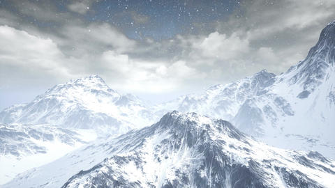 Fflying over snow mountains. aerial view Animation