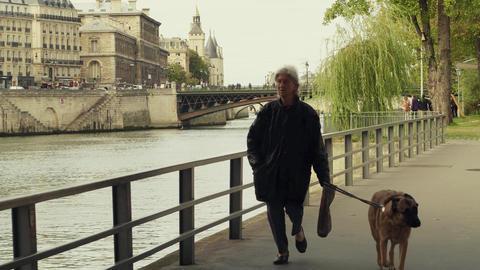 PARIS, FRANCE - OCTOBER 8, 2017. Elderly woman walking the dog along the Seine Live-Action
