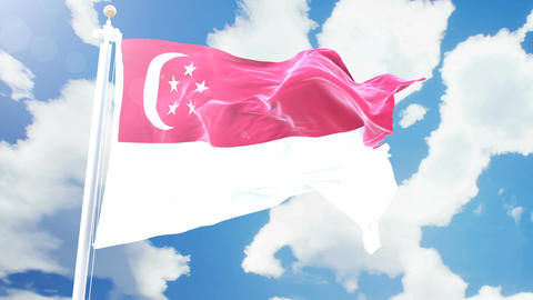Realistic flag of Singapore waving against time-lapse clouds background. Animation