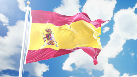 Realistic flag of Spain waving against time-lapse clouds background. Seamless Animation
