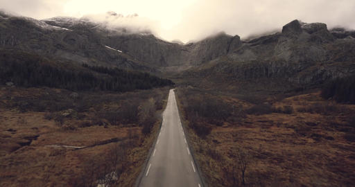 Country road in epic landscape in Norway Lofoten Live Action
