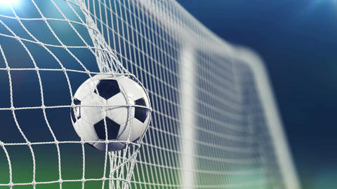 Slow Motion 3d animation of Soccer Ball flying in Goal Net. Beautiful Football Animation