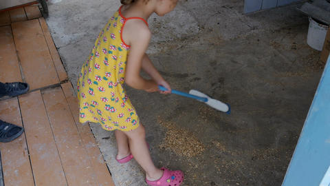 Little girl is cleaning the room Archivo