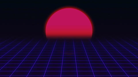 Retro Futuristic.Grid and sunset. 80s Retro Sci-fi background Live Action