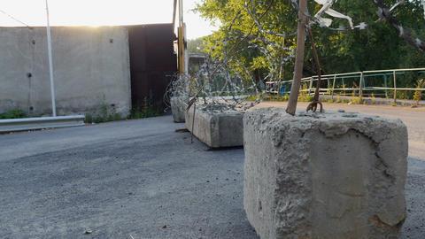 Stone blocks on the road Footage