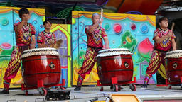 Taiwanese drummers performing outside a temple Taipei Taiwan Footage