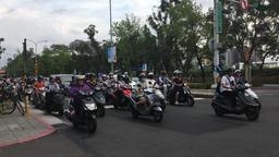 Taipei traffic led by scooters Taipei CIty Taiwan Footage