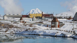 Mutnovskaya Geothermal Power Station on Russian Far East, Kamchatka Peninsula Archivo