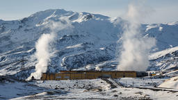 Mutnovskaya Geothermal Power Plant on Kamchatka Peninsula, Russian Far East Footage