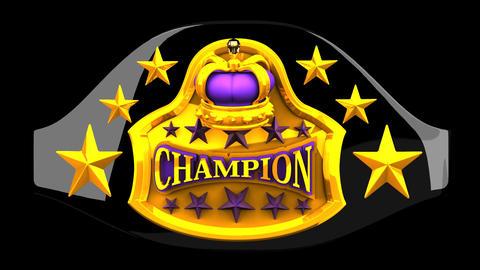 Champion Belt On Black Background Animación