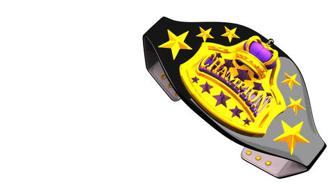 Champion Belt On White Text Space Animation