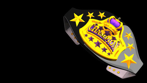 Champion Belt On Black Text Space Animation