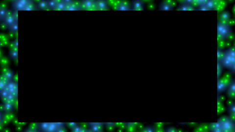 Video frame in abstract design. Green and blue bokeh lights flowing on black Animation