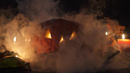 Halloween pumpkin in the smoke 画像