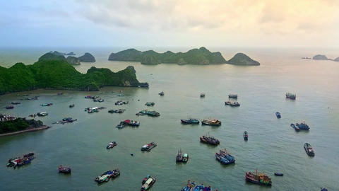 Aerial View Quiet Ocean Bay among Hilly Green Islands Footage