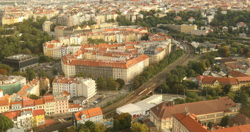 red roofs in the city Prague Czech Republic Footage