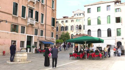 VENICE, ITALY - OCTOBER, 2017: Cozy cafe in Venice, Italy. Venice is a city in Footage