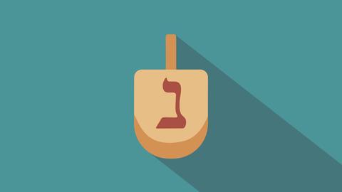 Hanukkah holiday dreidel flat design animation icon CG動画素材