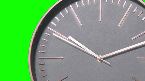 Modern Clock Face Fast Time Lapse on Green Screen Footage