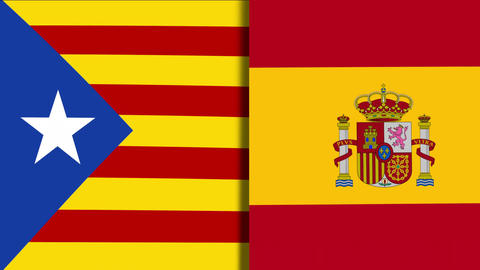 Catalonia And Spain Flags Footage
