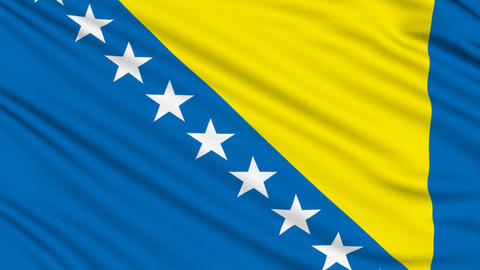 Bosnia and Herzegovina Flag, with real structure of a fabric Animation