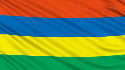 Mauritius Flag, with real structure of a fabric Animation