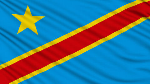 Congo Flag, with real structure of a fabric Animation