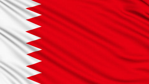 Bahraini Flag, with real structure of a fabric Animation