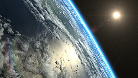 Sunrise from space. Earth from space CG動画素材