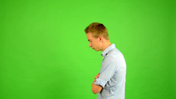 man - green screen - portrait - pace (around) the room (man waits) Footage