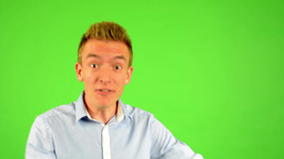 man - green screen - portrait - man is amazed (surprised) Footage