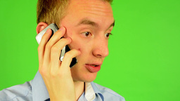 man - green screen - portrait - man on the phone - studio Footage